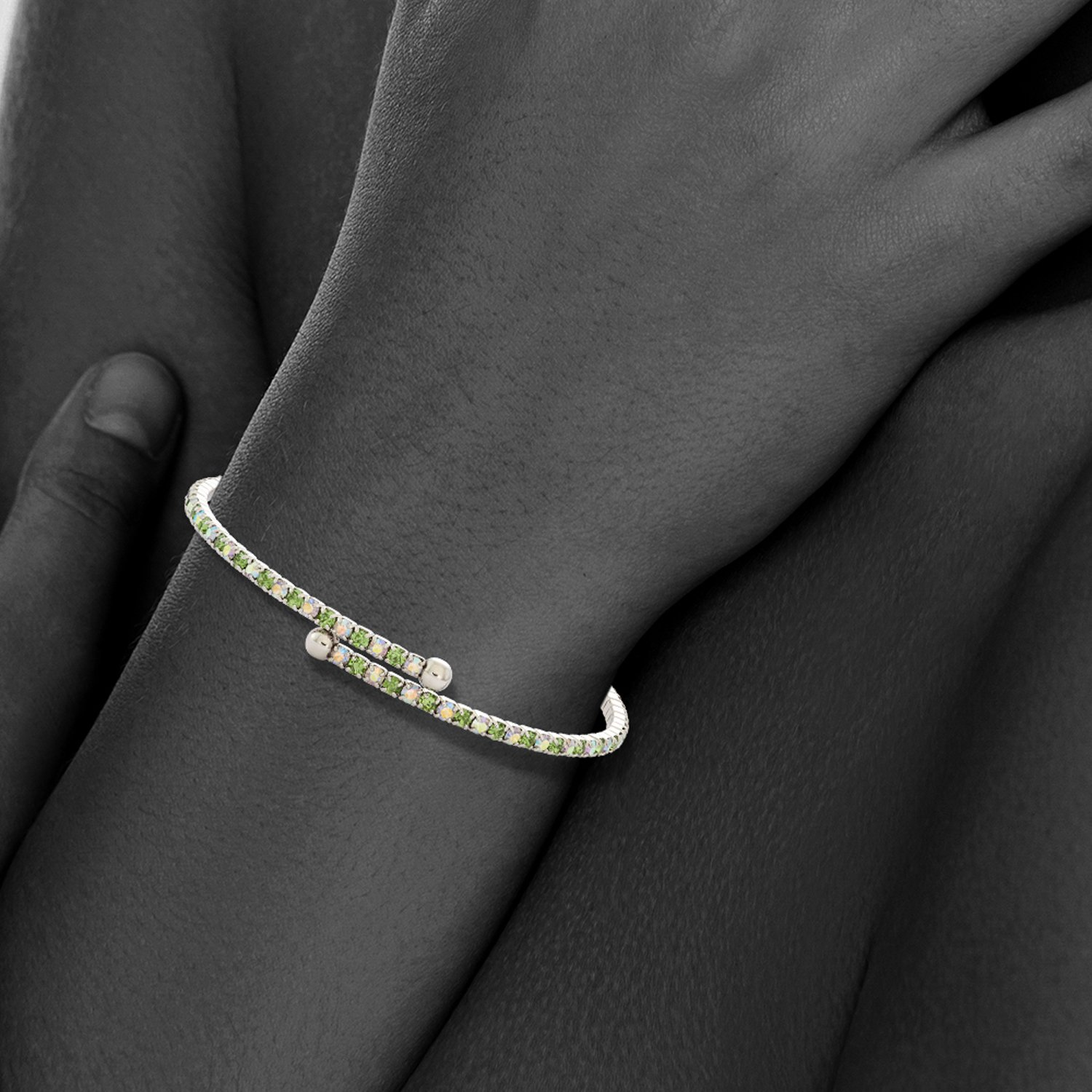 Collection Bijoux Rhodium Plated Single Wrap Light Green and Iridescent Crystal Flex Bangle Bracelet