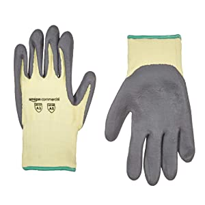 AmazonCommercial 13G Kevlar & Foam Nitrile Gloves (Yellow/Gray), Size M, 12 pairs