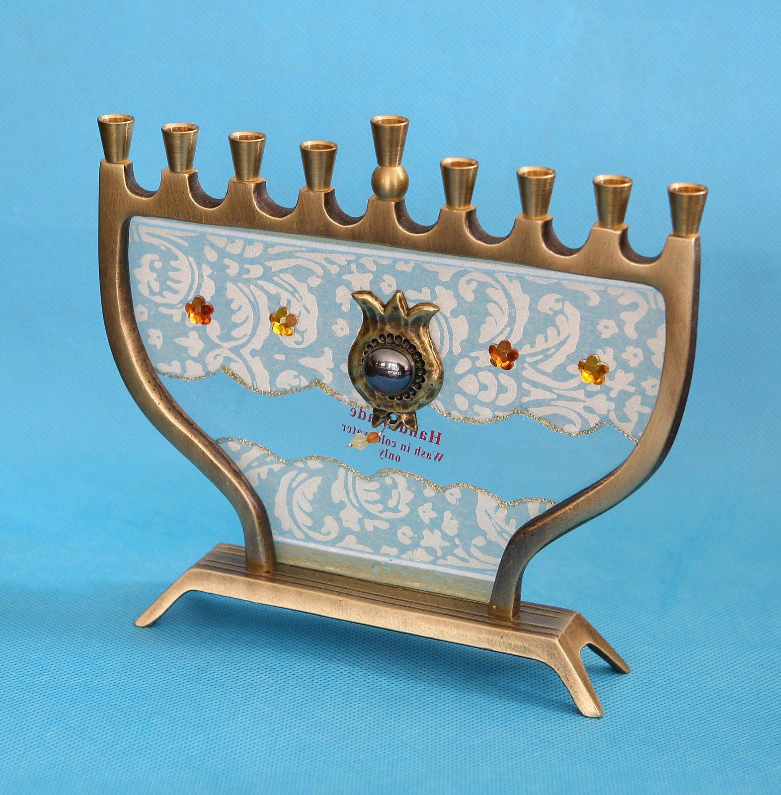 Hanukkah Menorah Hanukkia Unique Glass & Brass Collector's Decoupage design , Hand Made In ISRAEL By The Artist Lili . Great Gift For; Shabbat Chanoka Rabbi Temple Wedding Baby Naming Housewarming Bar Mitzvah Bat Mitzva and Jewish Homes.
