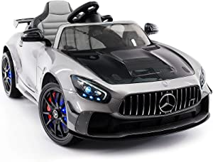 Moderno Kids Mercedes GT 12V Power Children Ride-On Car with R/C Parental Remote + EVA Rubber LED Wheels + Leather Seat + MP4+MP3 Video/Music Player + LED Lights + Rubber Floor Mats (Gray)