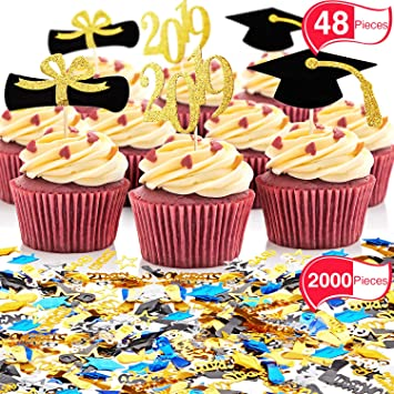2000 Pieces 2019 Graduation Confetti With 48 Pieces Graduation Cupcake Topper For Graduation