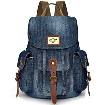 53a1a314b3 Denim School Backpack for Teen Girls Women Cute Bookbag Rucksack Pupil  Middle High College School Student