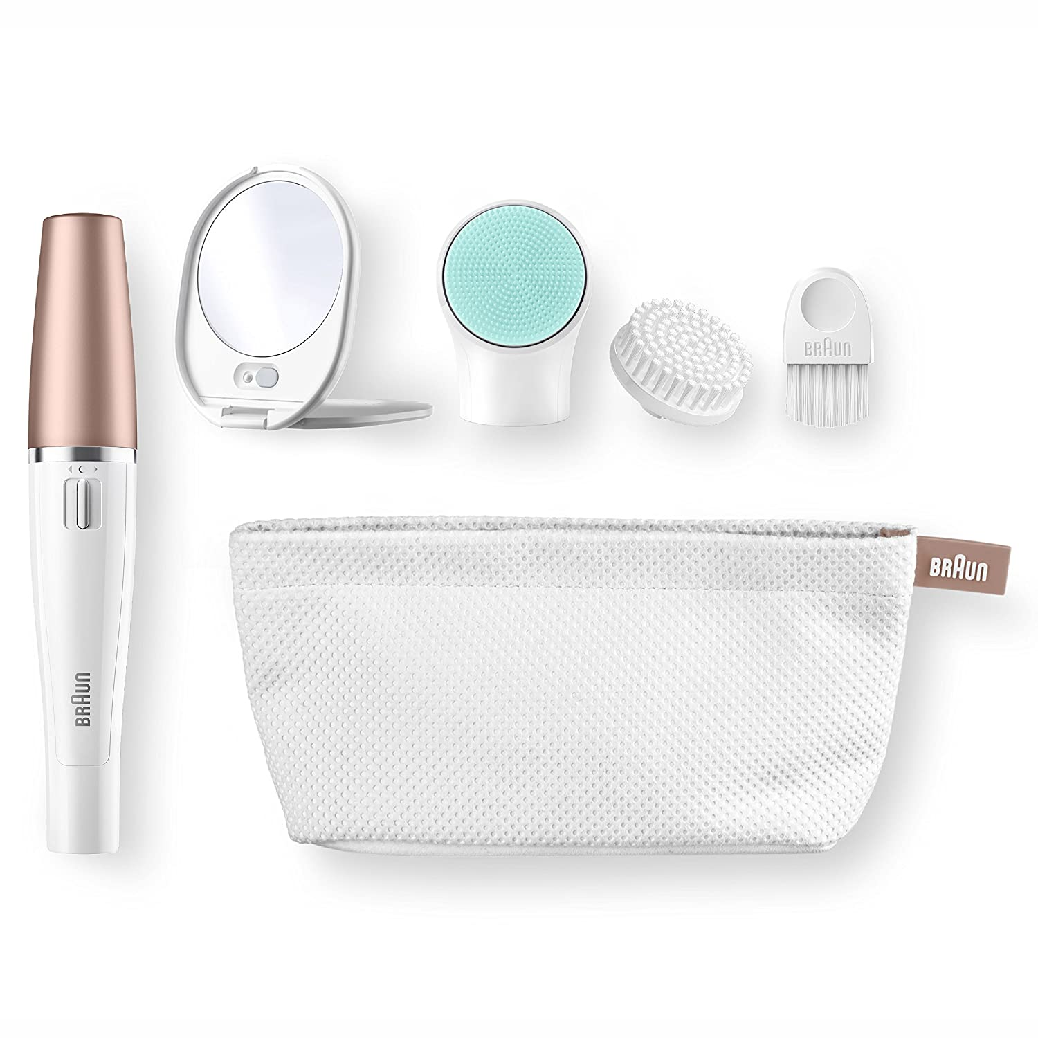 Braun Face 851V (Japanese Import) Women's Miniature Epilator, Electric Hair Removal, with 4 Facial Cleansing Brushes and Beauty Pouch