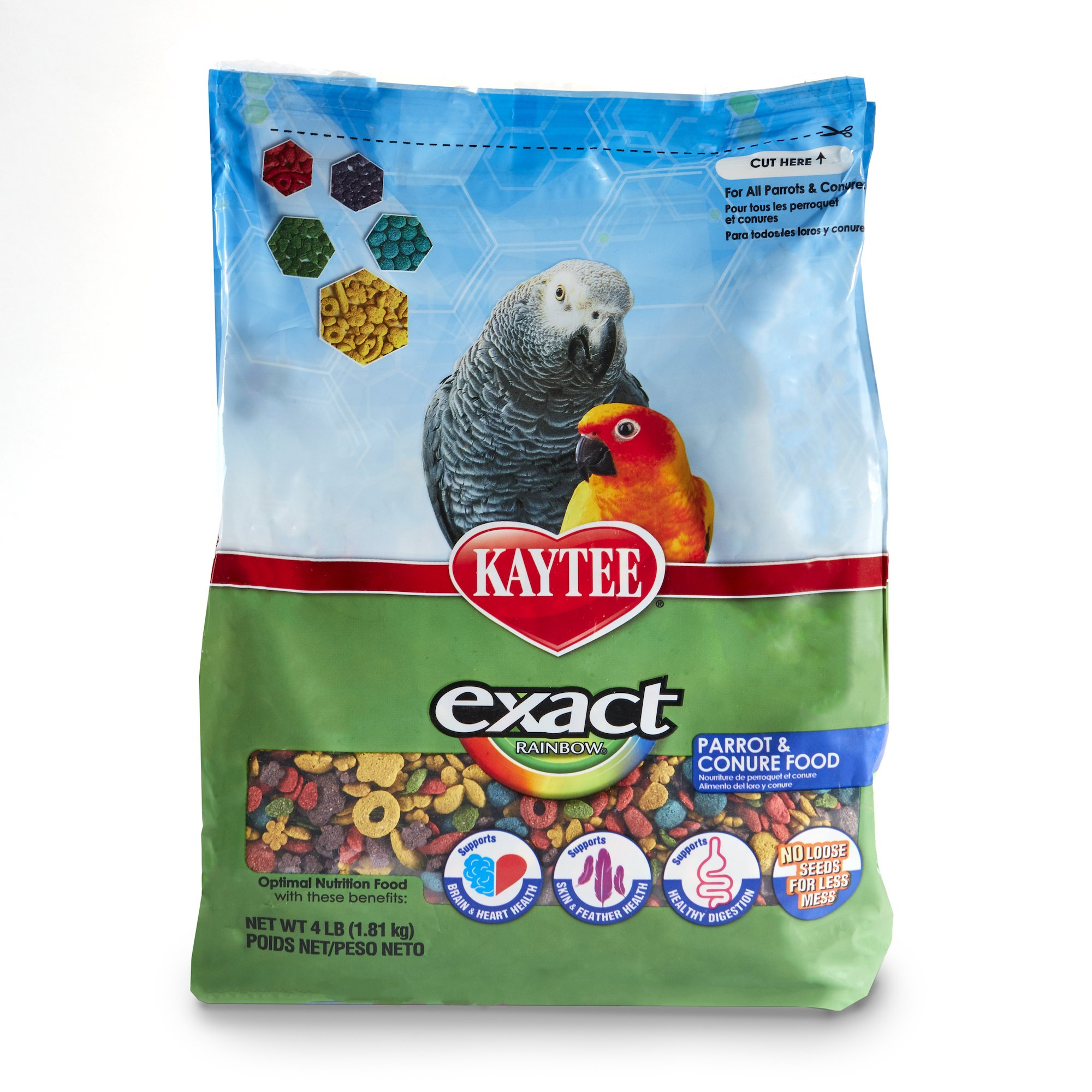 Kaytee Exact Rainbow Premium Daily Nutrition for Parrots and Conures, 4-Pound Bag by Kaytee