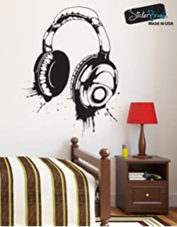 Amazon stickerbrand animals vinyl wall art giant octopus headphones vinyl wall decal sticker urban music large 43in h x 34in w 643s black gumiabroncs Images