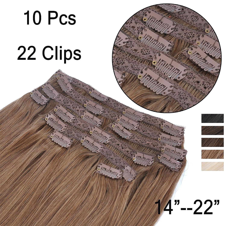 (35cm-55cm) Clip In Extensions 10 Teiliges SET 120g 100% Remy Echthaar für Komplette Haarverlängerung glatt Haarteile (6#, Hellbraun, 40cm) Beyond Your Thoughts