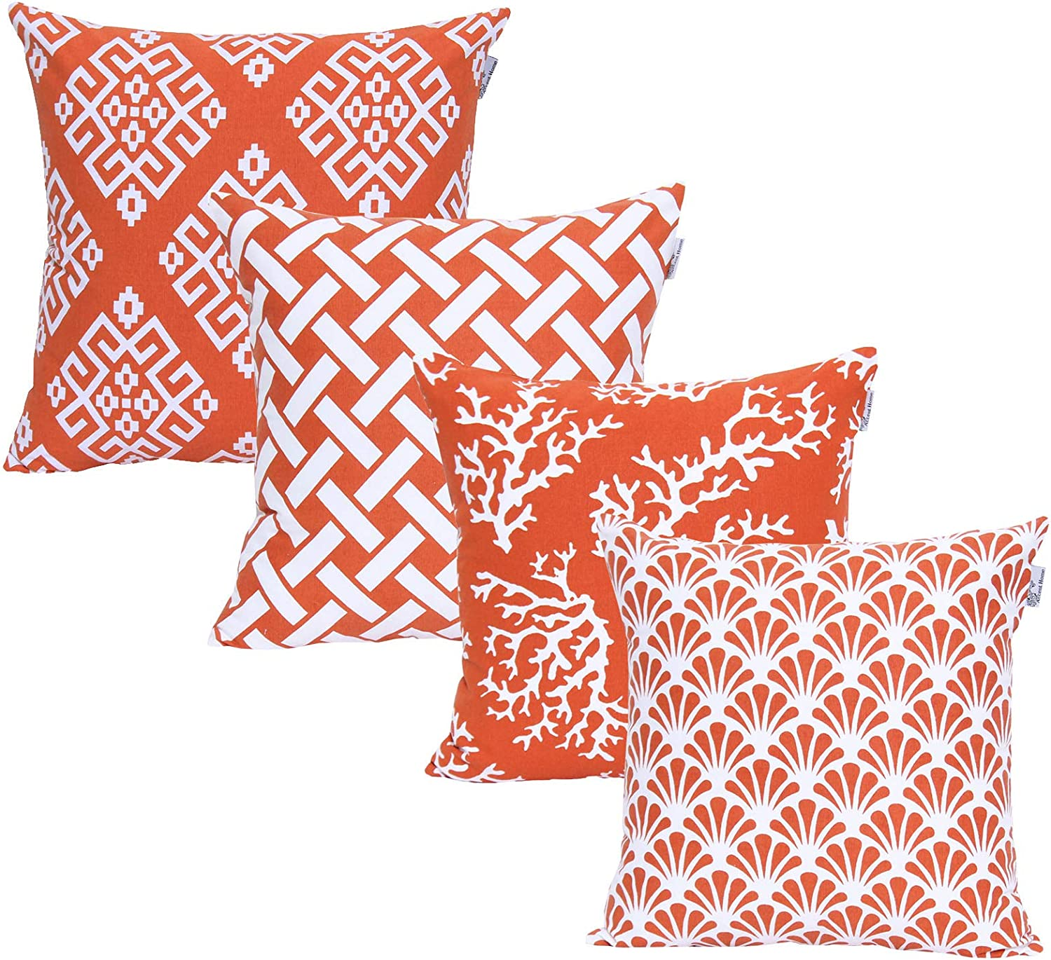ACCENTHOME Square Printed Cotton Cushion Cover,Throw Pillow Case, Slipover Pillowslip for Home Sofa Couch Chair Back Seat,4pc Pack 18x18 in Rust Color