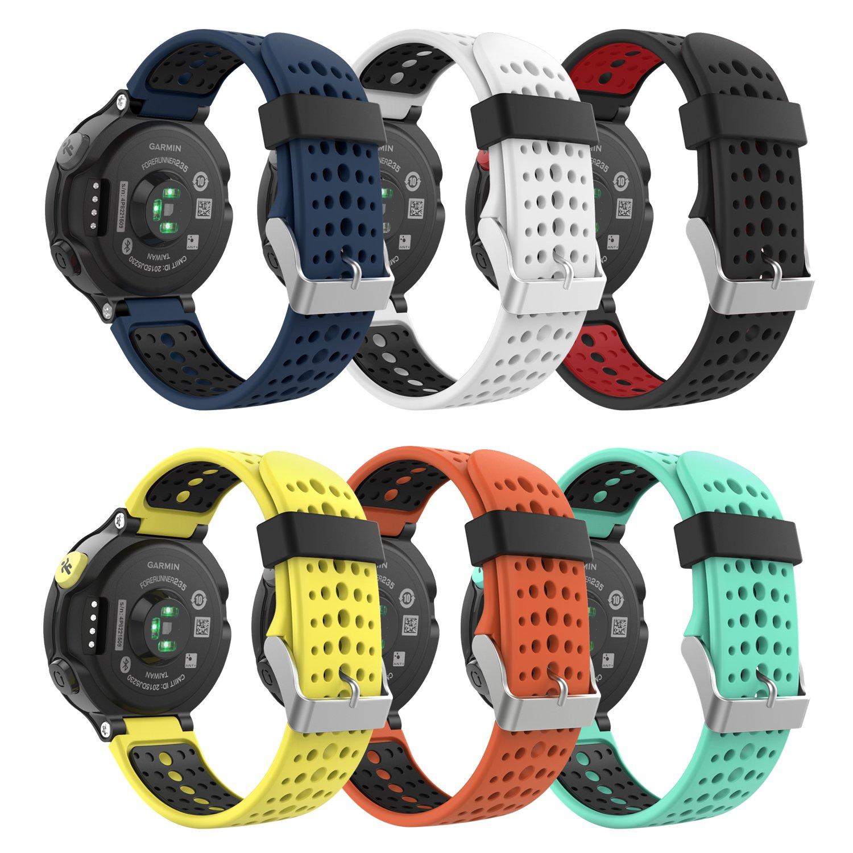 MoKo Band for Garmin Forerunner 235, [6PACK] Soft Silicone Replacement  Watch Band for Garmin Forerunner 235/235 Lite / 220/230 / 620/630 / 735  Smart