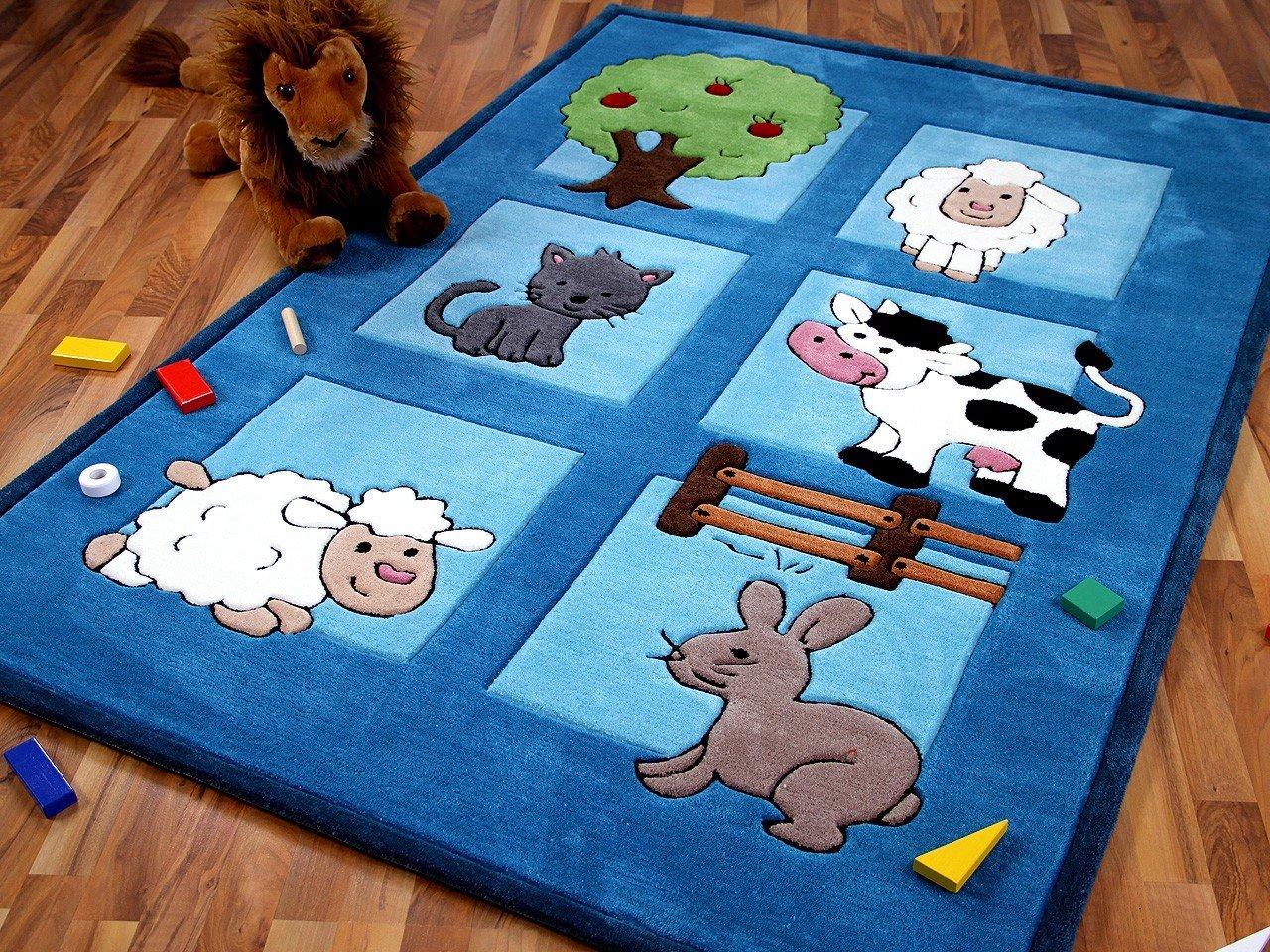 Lifestyle Kinderteppich Bauernhof Blau in 3 Größen     Sofort Lieferbar