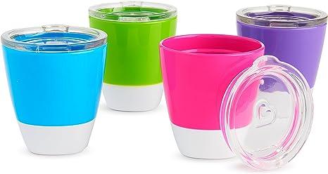 Munchkin Splash - Vasos con tapas de entrenamiento para niños, 7oz / 207ml, pack de 4 unidades: Amazon.es: Bebé