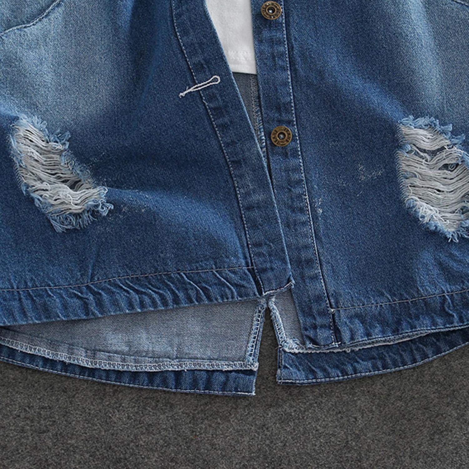 9XL Plus Size Spring Autumn Long Denim Jacket Women Casual Frayed Hole Letter Loose Jeans Coat Female Oversize Outwear Vest Light Blue