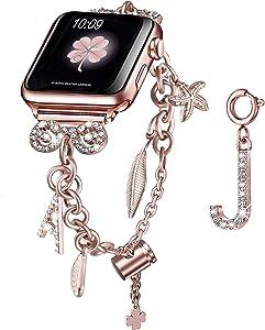 Secbolt Bling Multi-charm Bracelet and Letter J Charm for Apple Watch 42mm 44mm iWatch SE Series 6/5/4/3/2/1, Rose Gold