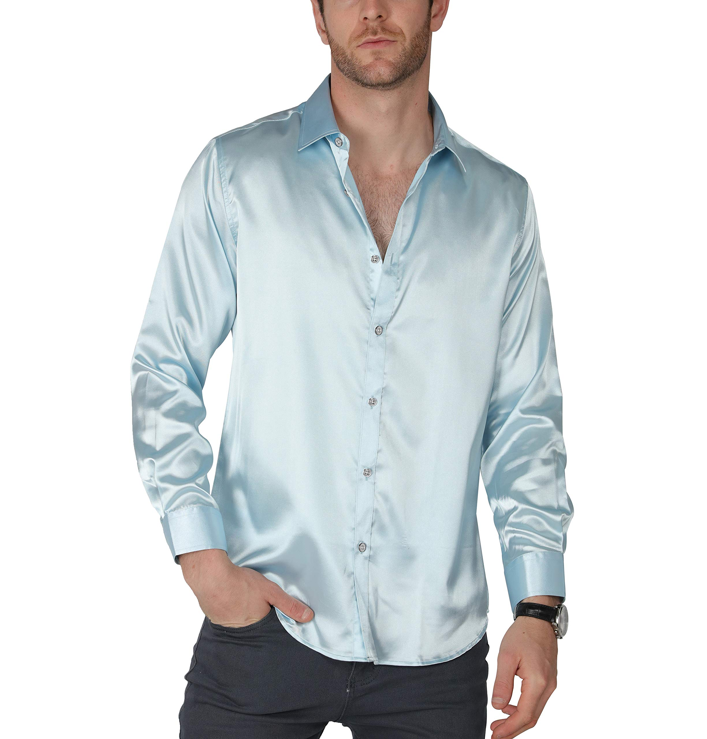 VICALLED Men's Satin Luxury Dress Shirt Slim Fit Silk Casual Dance Party Long Sleeve Fitted Wrinkle Free Tuxedo Shirts (Light Blue, S) by VICALLED