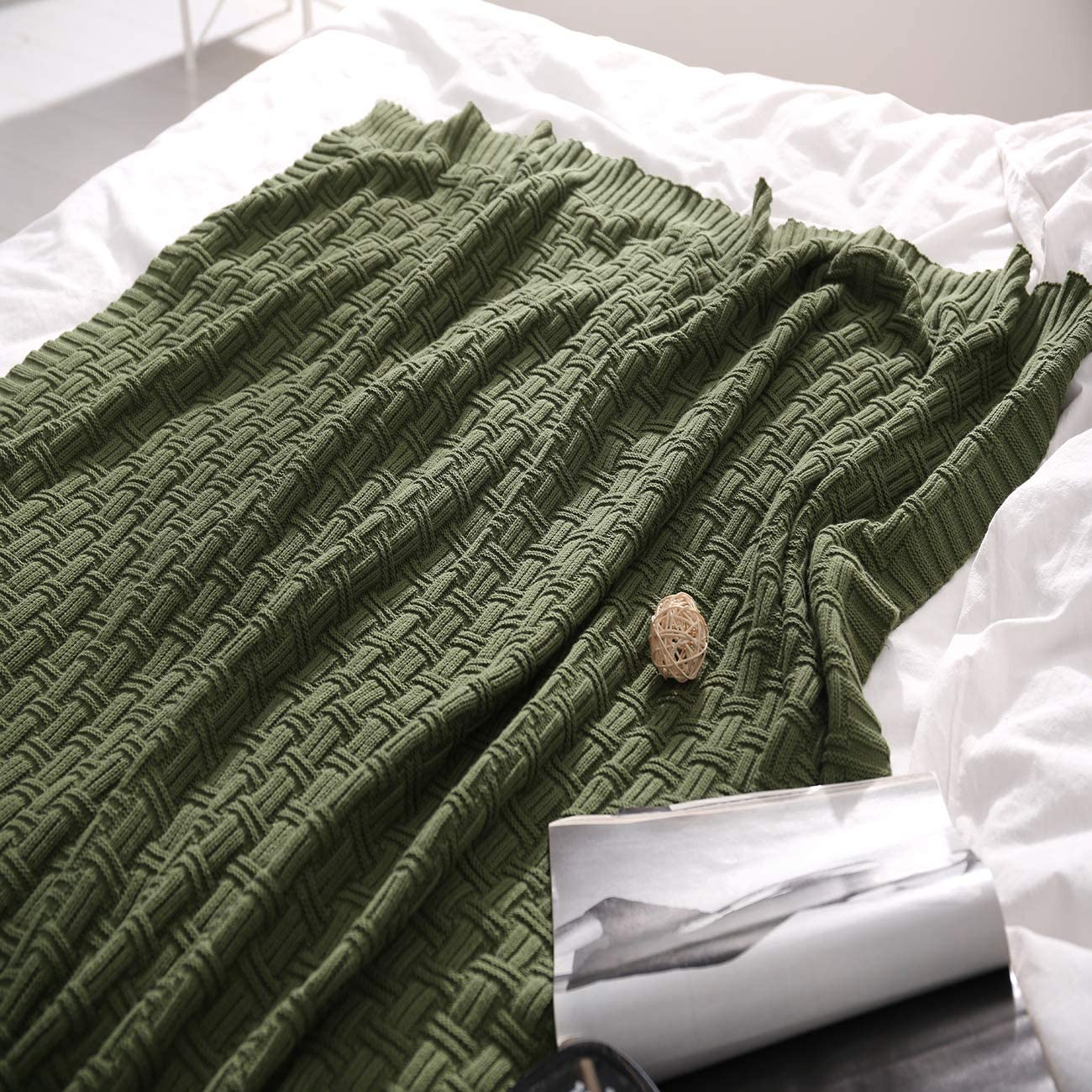 Treely 100% Cotton Knitted Throw Blanket Couch Cover Blanket(50 x 60 Inches,Green Forest)