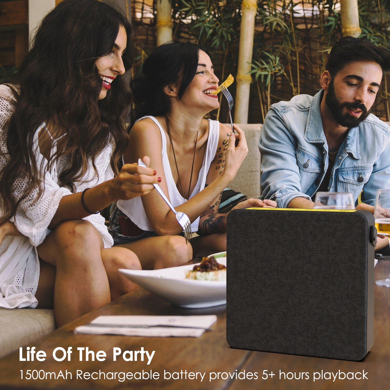 PUNKBOX Portable Wireless Bluetooth Speaker, Loud & Powerful Dual HD Speakers W/ Enhanced Bass, AUX Input, Rechargeable Hands Free Speakerphone W/ Noise Cancellation Mic for iPhone/Android [black]