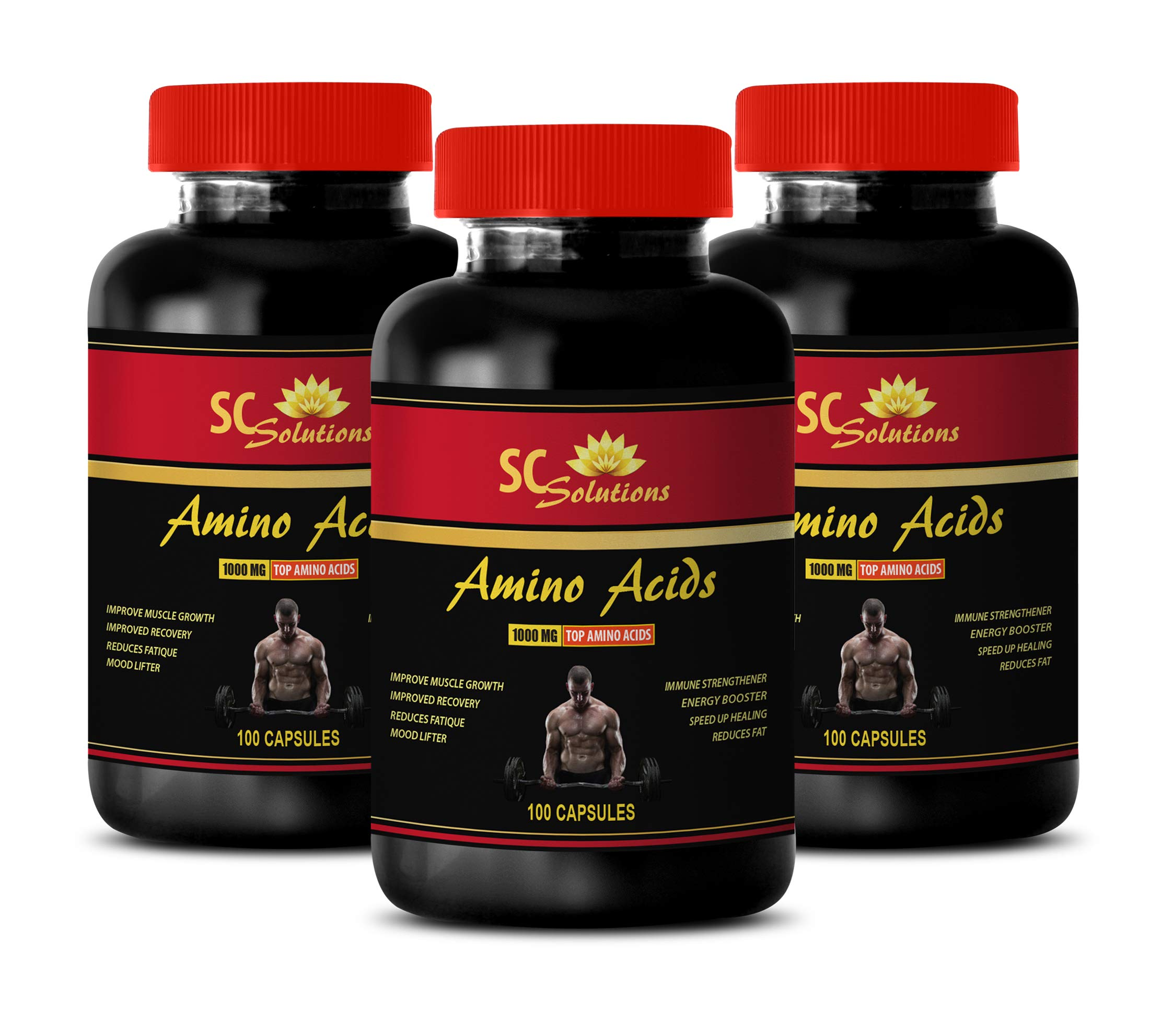 Muscle Mass Formula - Amino ACIDS 1000MG - TOP Amino ACIDS - l-theanine and l-tyrosine - 3 Bottles 300 Capsules