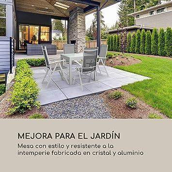 blumfeldt Pamplona Mesa de jardín - Extensible, Materiales: Aluminio y Vidrio, Concepto SmartSpace, Medidas máximas 180 x 83 cm, hasta 6 Personas, Resistente a la Intemperie, Blanco: Amazon.es: Jardín