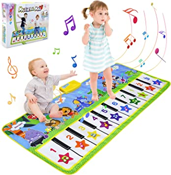 BelleStyle Alfombra para Música, 135*59cm Alfombra para Piano, Estera de Baile, Juguete Musical Bebé Actividad Alfombrilla de Suelo Animal Teclado ...
