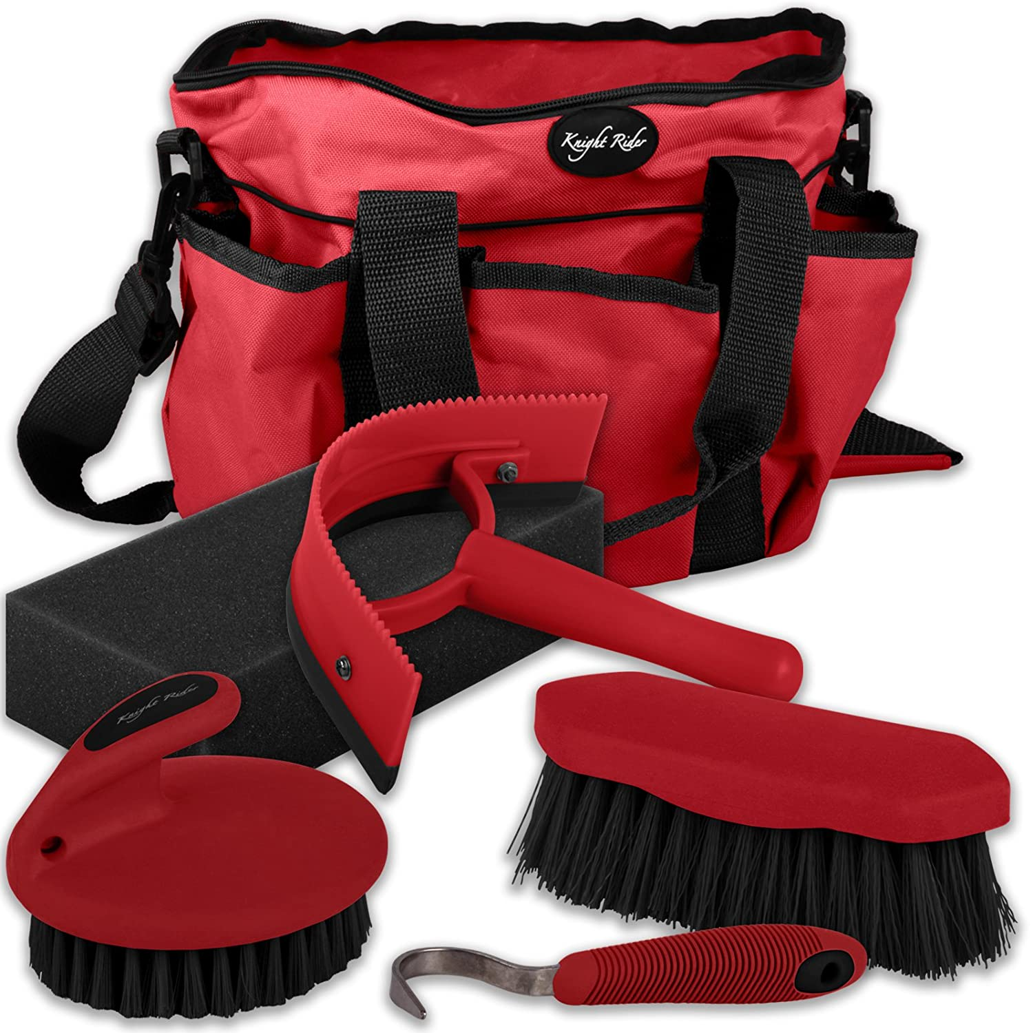 5 Piece Horse Pony Cob Grooming Kit Tack Bag Gift Set Stable Travel AND Tigerbox® Antibacterial Pen! Knight Rider