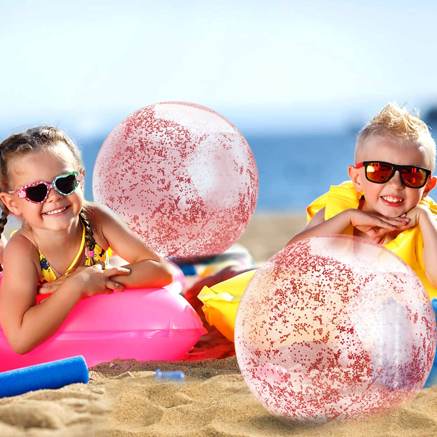 Pool Water Toys Parts3A Beach Ball for Parties Beach Balls Inflatable 16 inch 24 inch 2pc Holidays