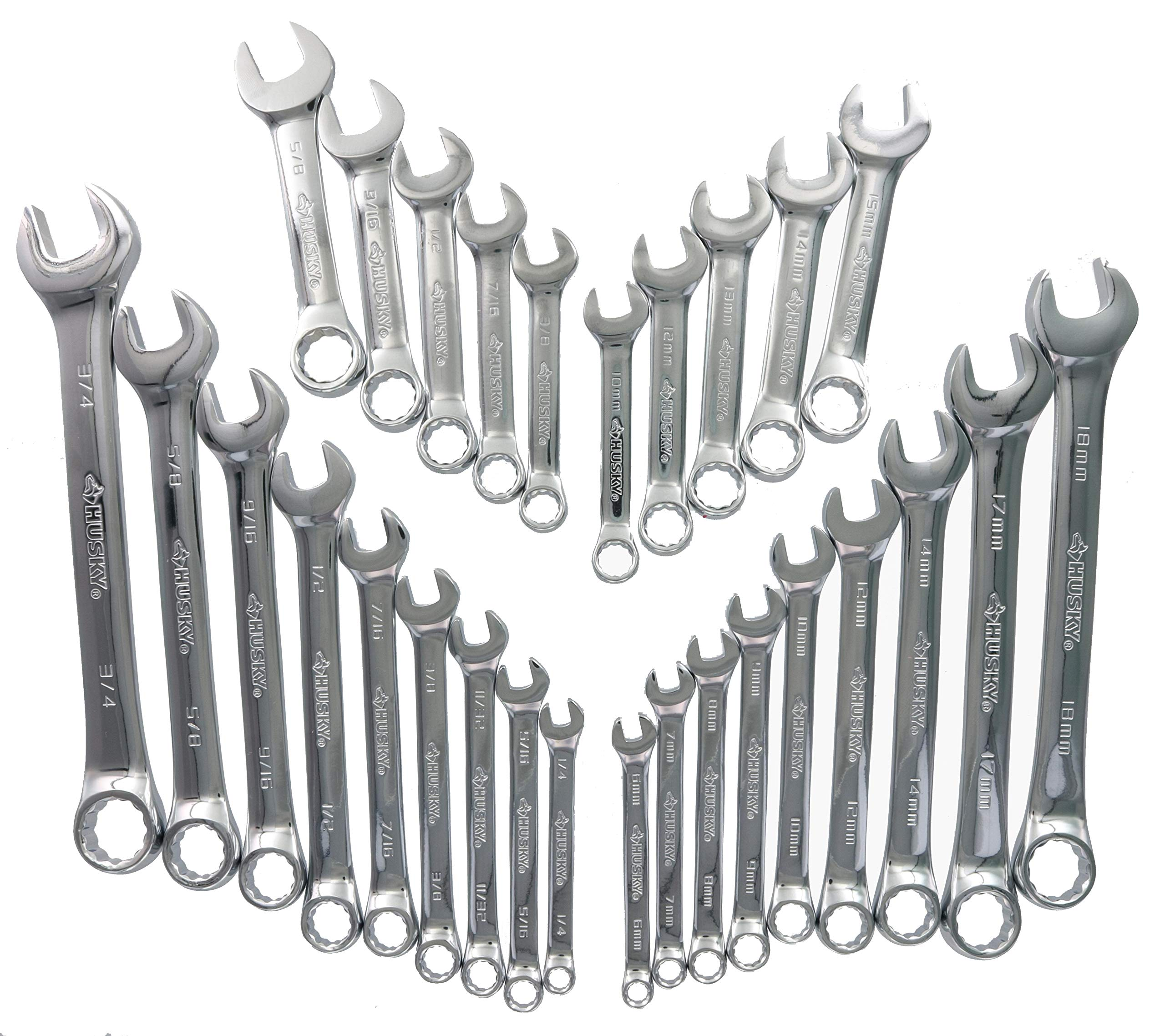 Husky 28CW002NC 28-Piece SAE and Metric Combination Wrench Set and Plastic Labeled Storage Case by Husky