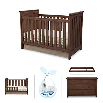 Serta North 4 Piece Nursery Furniture Set Including Crib, 6 Drawer Dresser,  Changing