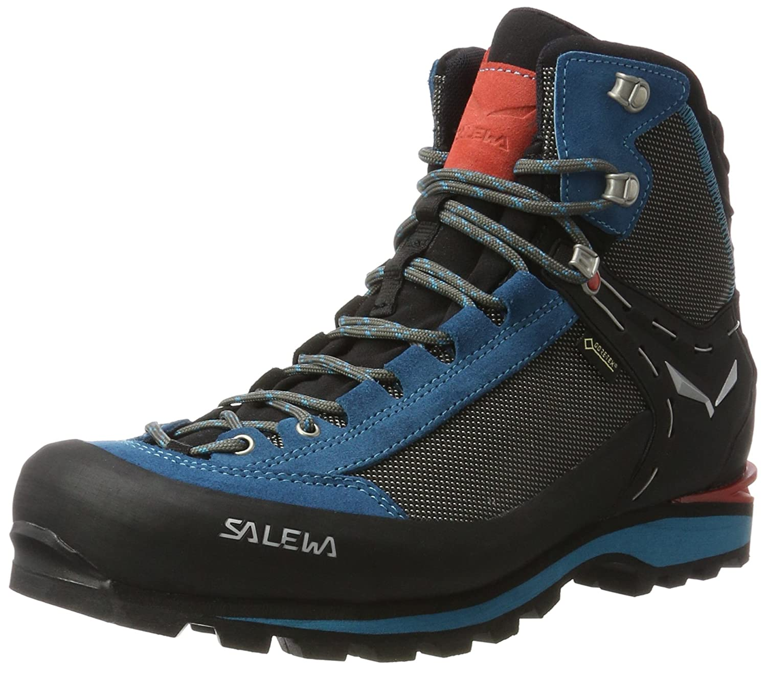 Salewa Women's Crow GTX Mountaineering Boot | Mountaineering, Alpine Climbing, Alpine Trekking | Gore-Tex Breathable Waterproofing, Crampon Compatible, Vibram Sole Black/Hot Coral 6 61329-938-6