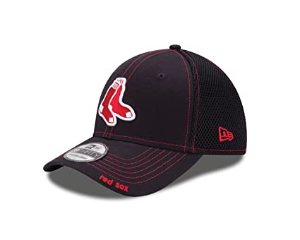 New Era Boston Red Sox Navy Blue Neo 39THIRTY Stretch Fit Hat (Small Medium 41eea1c493fd