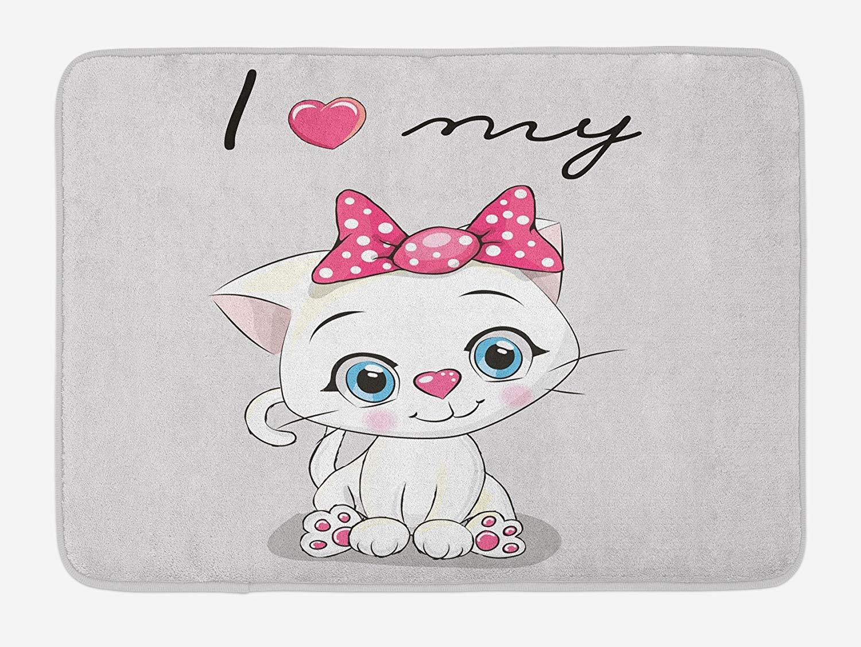 Image of: Clipart Kitten Bath Mat Cute Cartoon Domestic White Cat Pink Cheeks Fluffy Love My Pet Themed Print Plush Bathroom Decor Mat With Non Slip Backing Amazoncom Amazoncom Kitten Bath Mat Cute Cartoon Domestic White Cat Pink