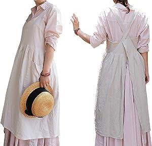 Women Girls Vintage Cute Apron Gardening Works Cross Back Cotton/Linen Blend Aprons Pinafore Dress with Two Pockets (beige(V neck), 35.4