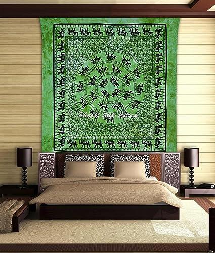 Stylo Culture Elefante Mandala Tapiz Telar Verde del algodón ...