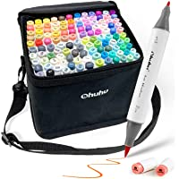 120-Color Alcohol Art Markers Set, Ohuhu Dual Tip, Brush & Fine, Sketch Marker, Alcohol-based Brush Markers, Comes w/ 1…