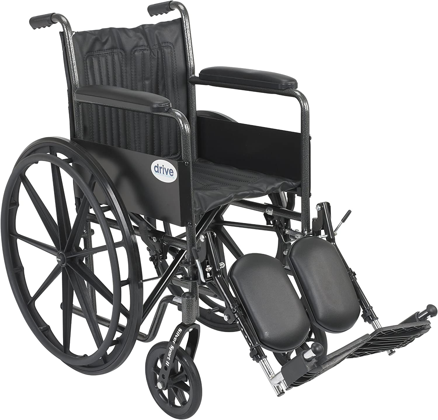 Drive Medical Silver Sport 2 Wheelchair with Various Arms Styles and Front Rigging Options, Black, 18 Inch 81gidX7LhML