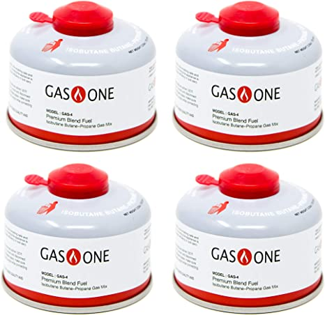 GasOne Bote de Combustible para Campamento, Mezcla de Combustible, isobutano, 100 g (4 Unidades)