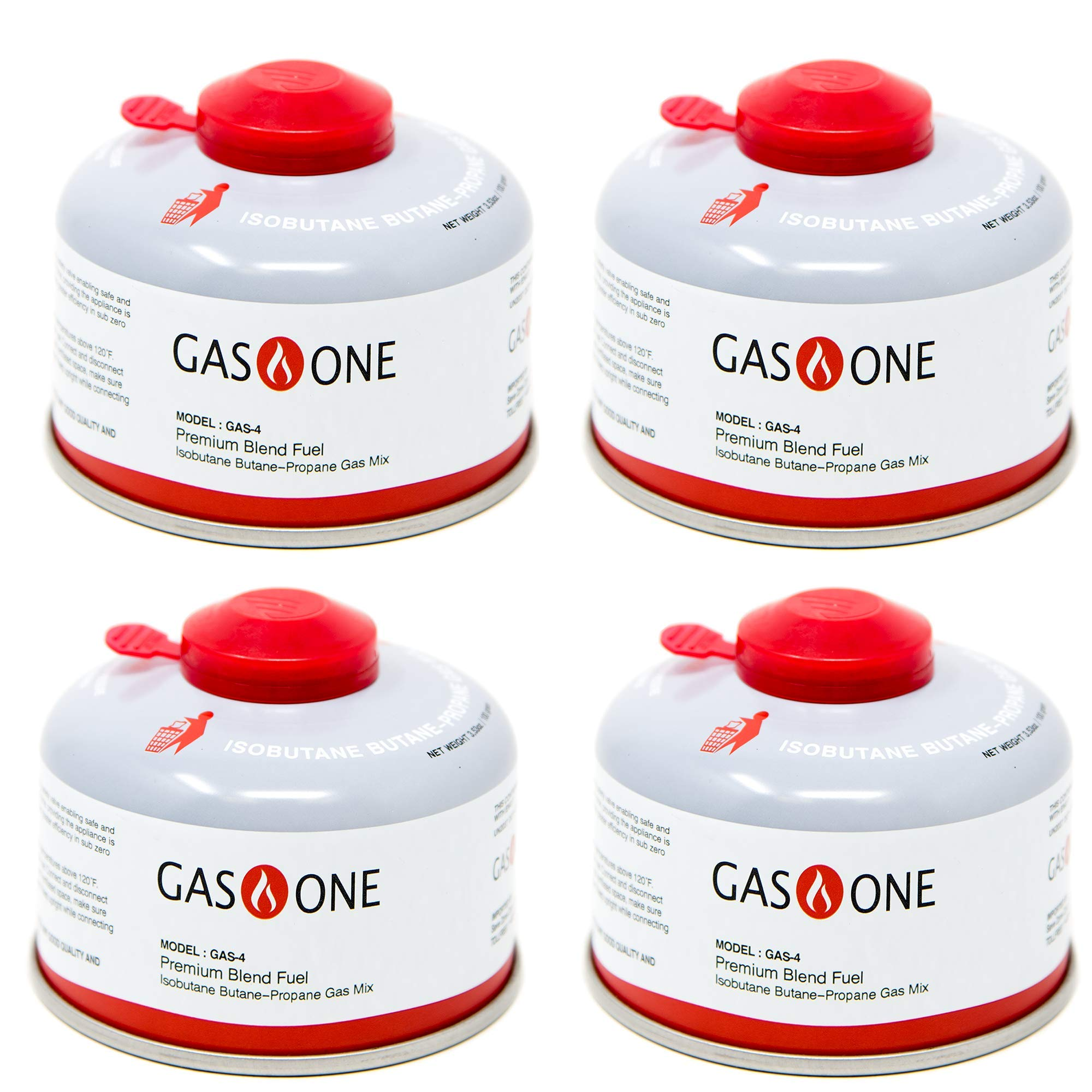 GasOne Camping Fuel Blend Isobutane Fuel Canister 100g (4 Pack) by GasOne