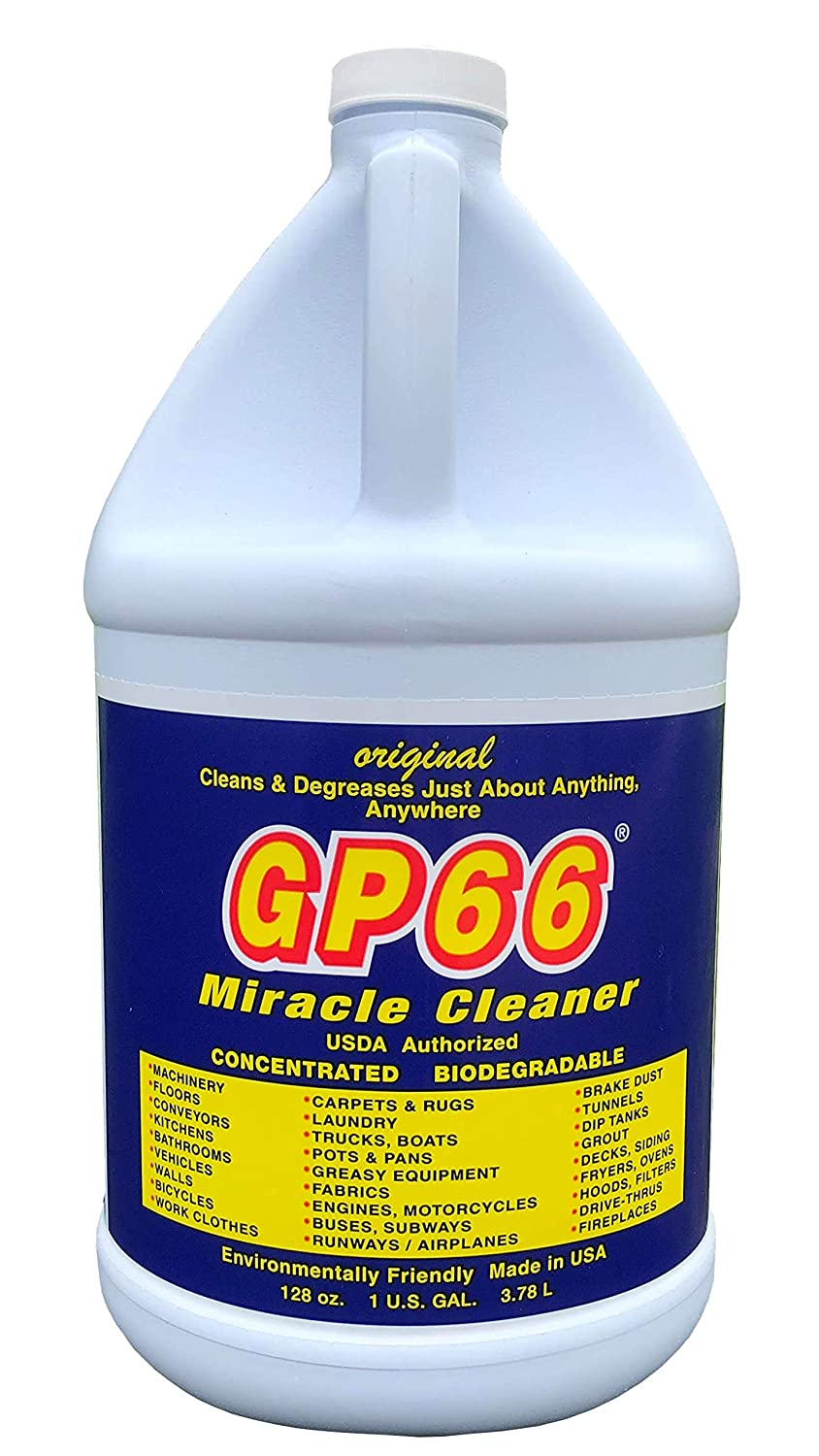 GP66 miracle cleaner gallon from GP66 (1, gal.) cleans and degreases just about anything anywhere! concentrated oven cleaner concrete cleaner laundry detergent grout pots carpets and more!