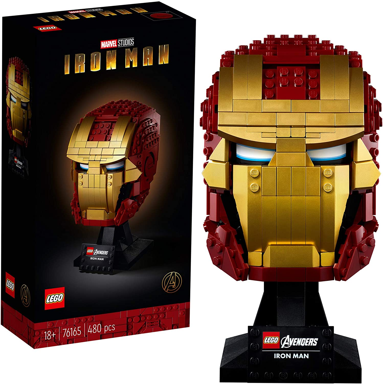 LEGO Marvel Avengers Iron Man Helmet 76165; Brick Iron Man-Mask for-Adults to Build and Display, Creative Challenge for Marvel Fans, New 2020 (480 Pieces)
