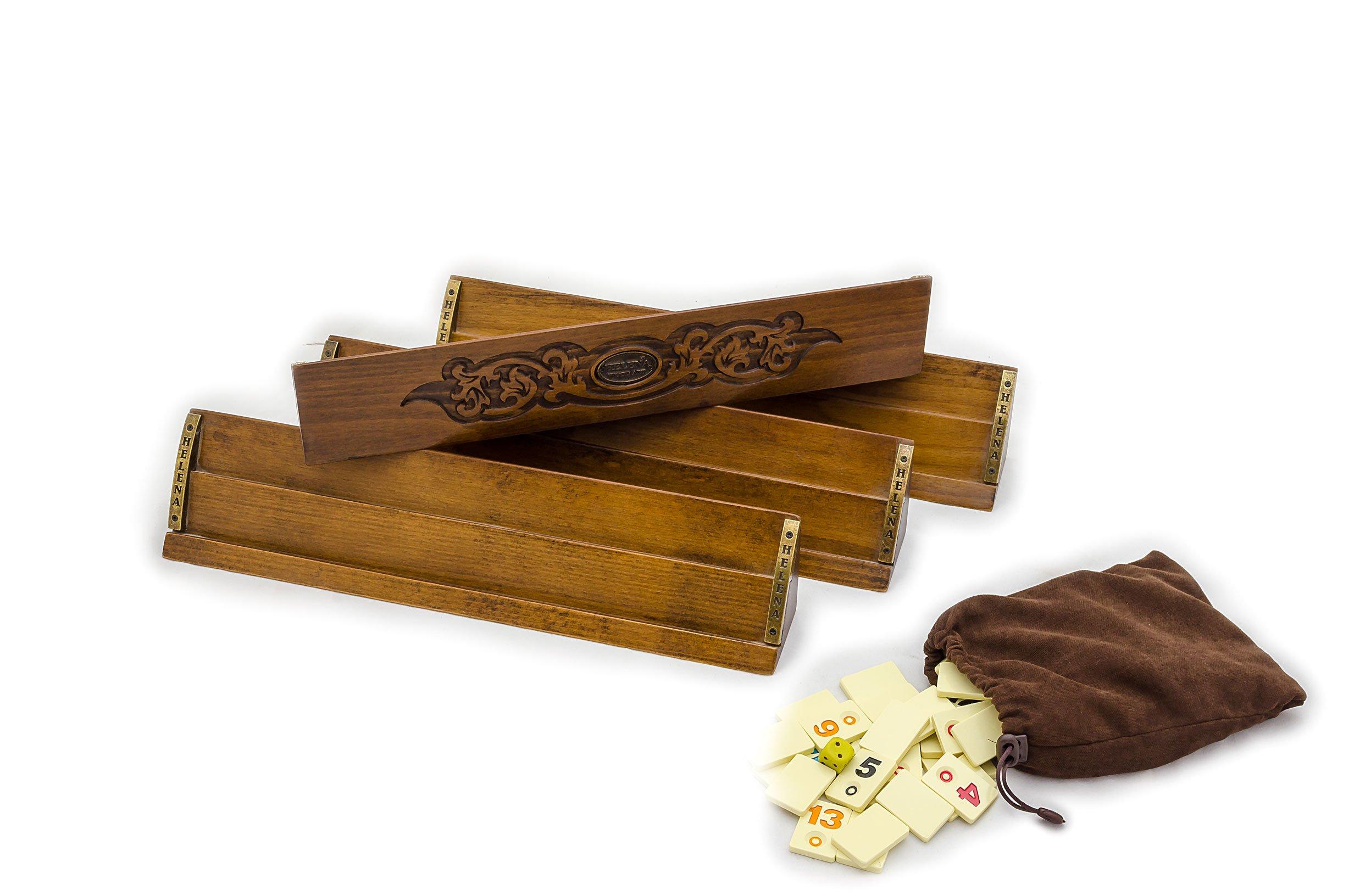 Safran Rummy Game Set - Handcarved Wooden Rummikub Cues - Tile Holders - Turkish Okey by Helena Wood Art (Image #3)