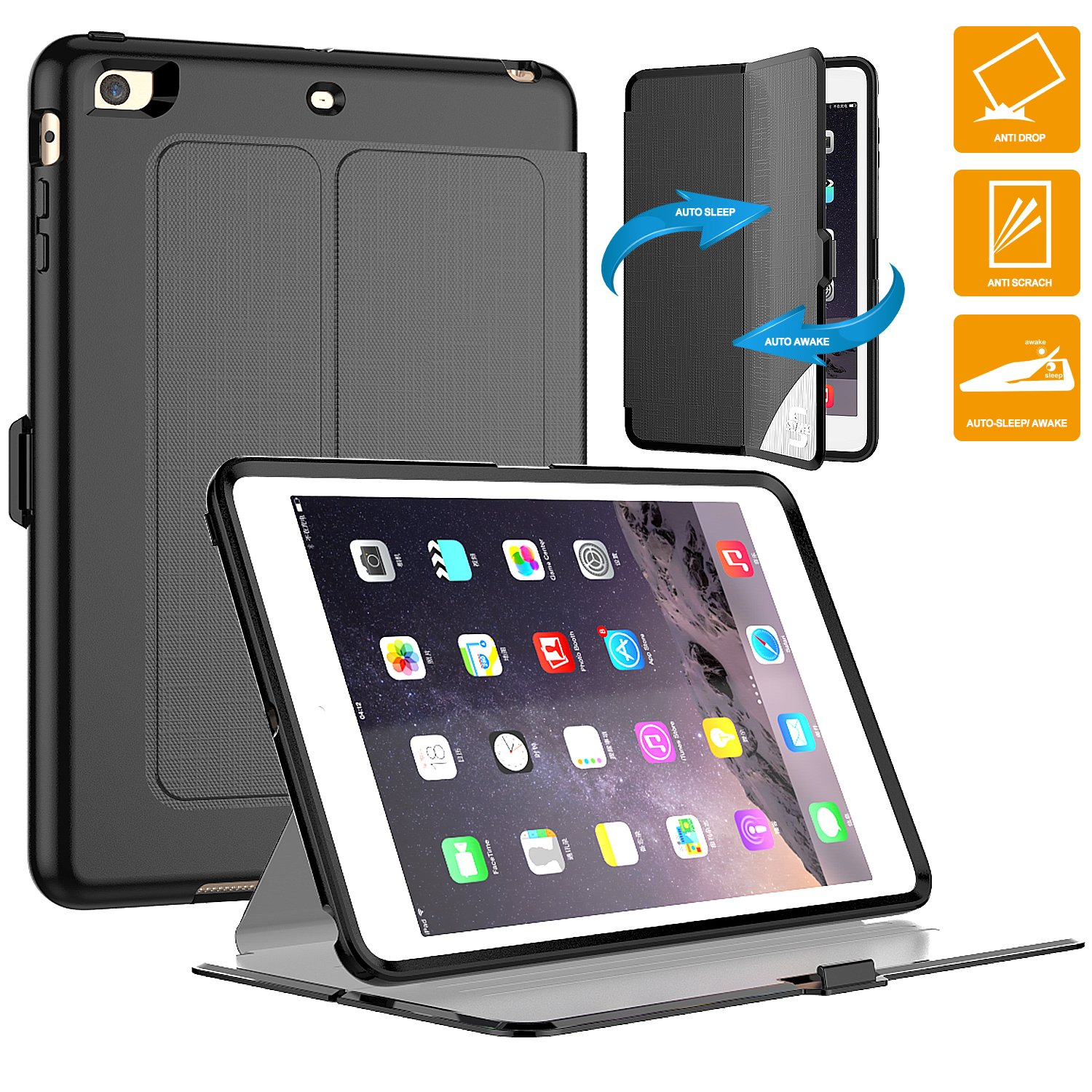 iPad Mini 3 Case, SEYMAC Full Body Rugged Shockproof Drop Protection Durable Leather [Hard Cover+Soft TPU] Stand Defender Case for iPad Mini 1st, 2nd, 3rd Generation -Schools, Work, Business[Black]