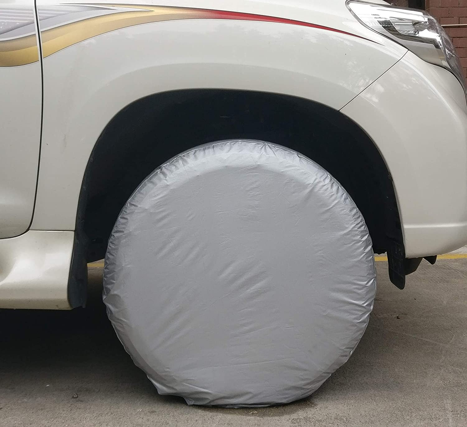 Bingdle Set of 4 Tire Covers for RVS Auto Truck Camper Trailer Waterproof Aluminum Film If Breakage Within 2 Years, Resend New Item Immediately (Camouflage 25-28') Resend New Item Immediately (Camouflage 25-28) bingdle30
