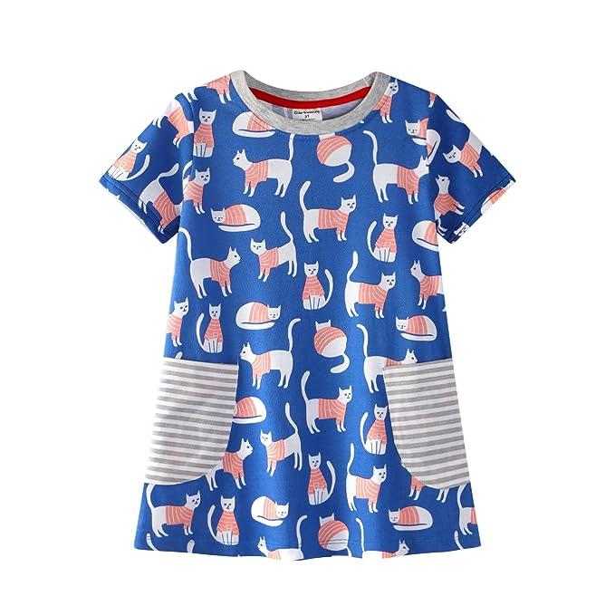 Niñas Corto Mangas Pijamas Dibujos Animados Hermosos Gatos Camisón 100% Algodón Vestido de Verano Talla