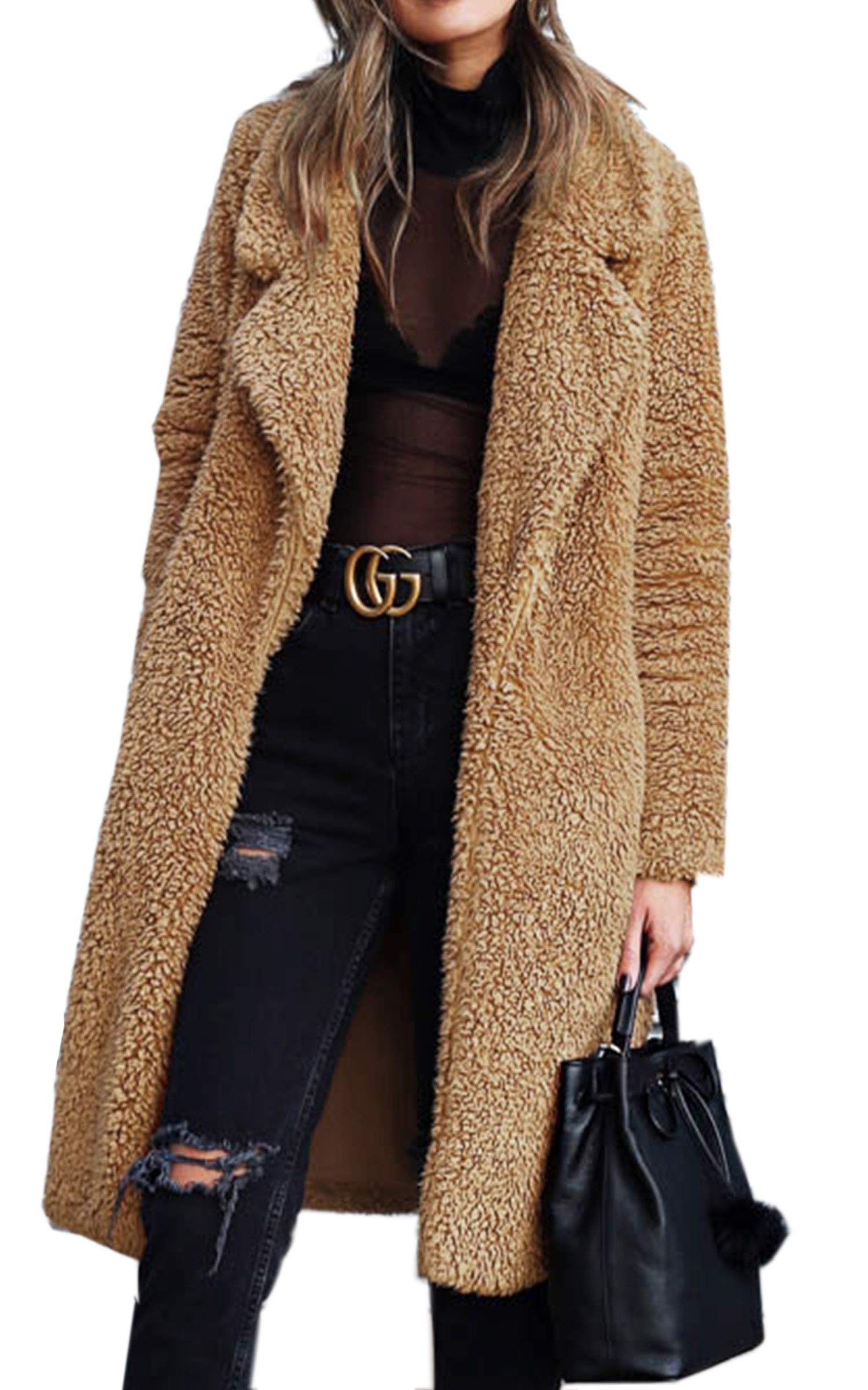 Angashion Women's Fuzzy Fleece Lapel Open Front Long Cardigan Coat Faux Fur Warm Winter Outwear Jackets with Pockets Dark Camel S by Angashion