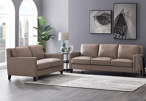 Surprising Hydeline Ashby 100 Leather Sofa Set Sofa Loveseat Taupe Evergreenethics Interior Chair Design Evergreenethicsorg