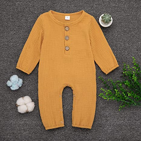 MAYOGO Ropa bebé Lino Mono Recién Nacido bebé Pijama One ...