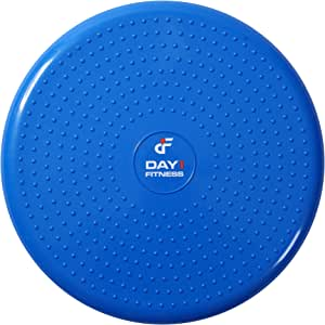 "Inflatable Wobble Cushion with Pump by Day 1 Fitness - 13"" Blue - Durable Exercise Balance Pad to Improve Coordination, Stability, and Core - Balancing Disc Cushions for Home, Gym, School, Rehab"