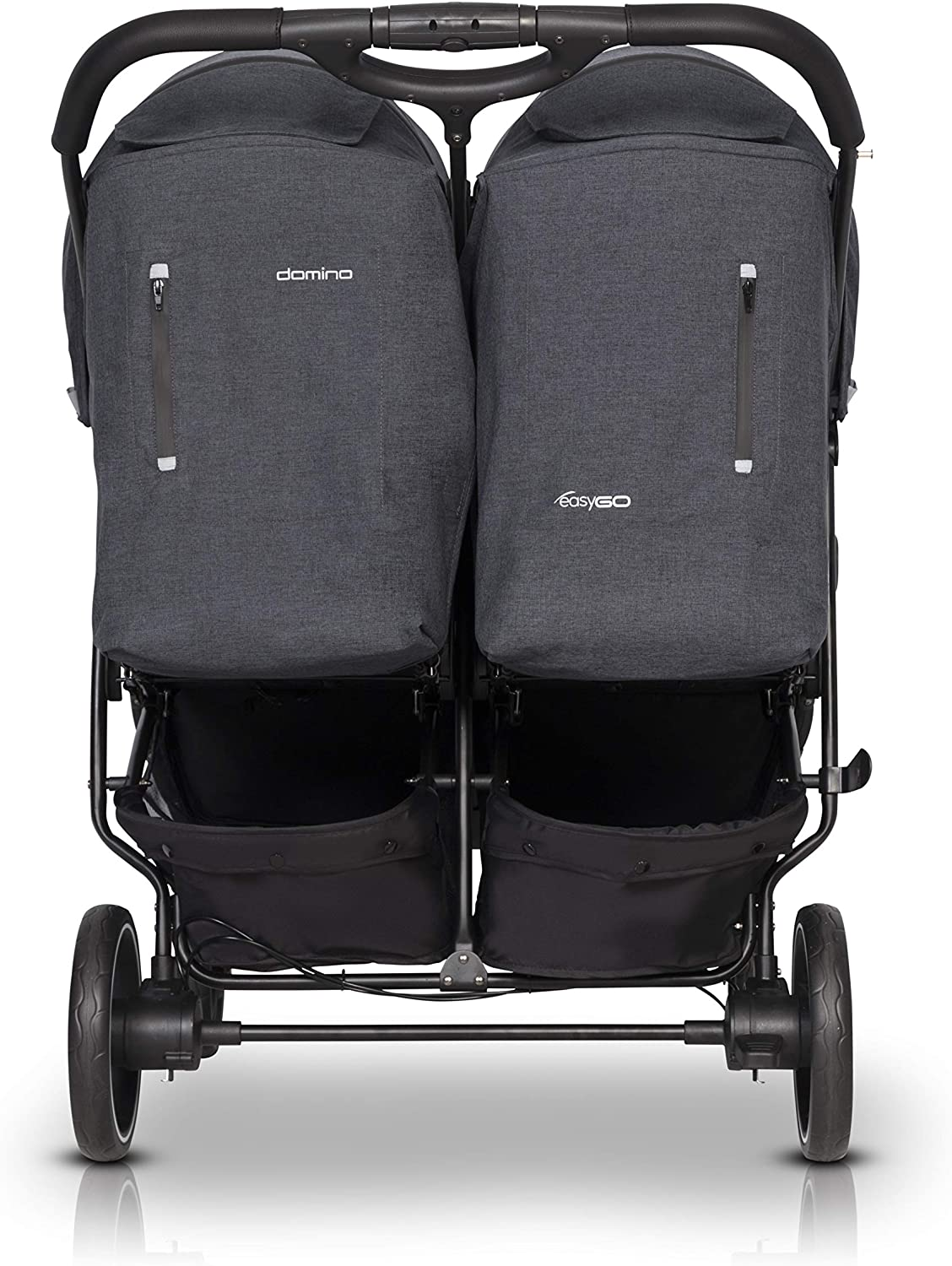 5-Position backrest Adjustment Raincover Swivel Wheels /& Roomy Shopping Basket Domino Double Buggy /& Double Pushchairs- Premium Fashionable Travel System for Twin Seats 0+ from Birth Sunshade
