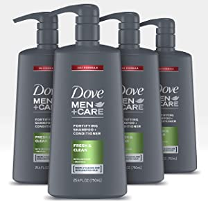 Dove Men+Care 2 in 1 Shampoo and Conditioner Fortifies Hair Fresh and Clean Helps Strengthen Hair, 25.4 Fl Oz, Pack of 4