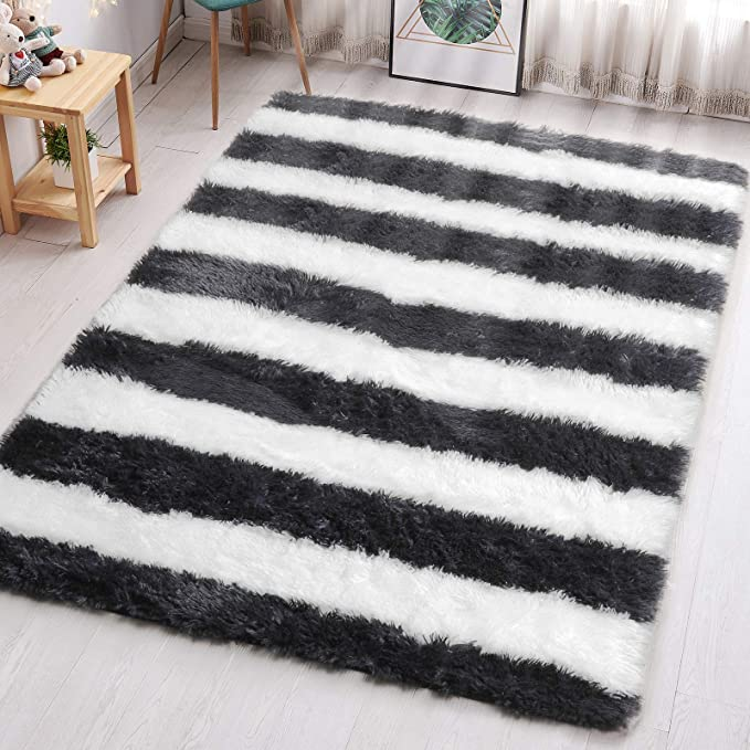 Pagisofe Black And White Striped Shaggy Area Rugs For Living Room Bedroom 4x6 Feet Plush Fuzzy Stripes Patterned Rugs Footcloth Floor Shag Carpet For Kids Nursery Fluffy Accent Home Room Decor