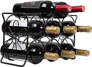 Finnhomy 6 Bottle Wine Rack with Flower Pattern, Wine Bottle Holder Free Standing Wine Storage Rack, 2-Way Storage Original Design, Iron, Brozen