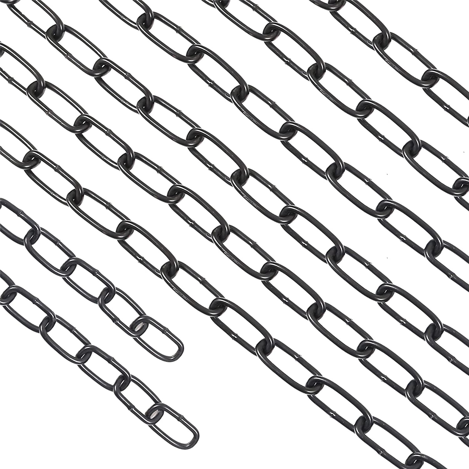 2m Strong Black Steel Chain White Hinge